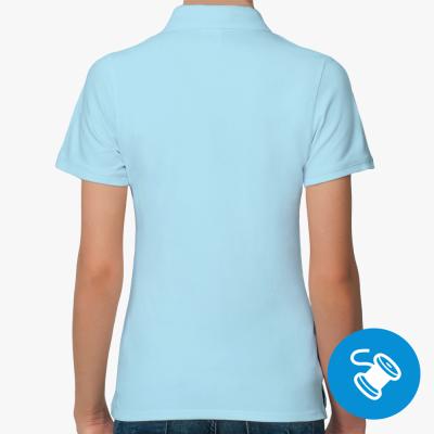 Женская рубашка поло Fruit of the Loom, голубая (вышивка)