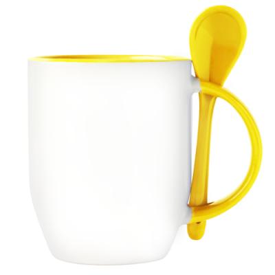 Кружка с ложкой, желтая