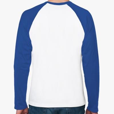 Футболка реглан с длинным рукавом, бел/синий