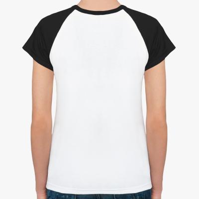 Женская футболка реглан, бел/черн,