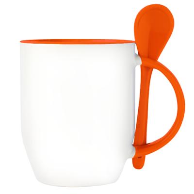 Кружка с ложкой, оранжевая