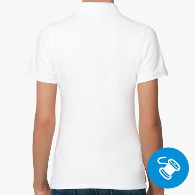 Женская рубашка поло Fruit of the Loom, белая (вышивка)