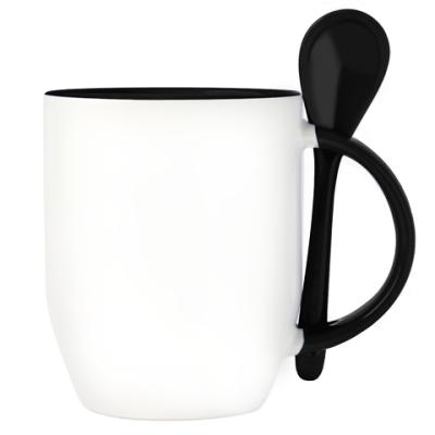 Кружка с ложкой (черн.) Logo
