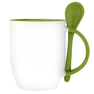 Кружка с ложкой, зеленая