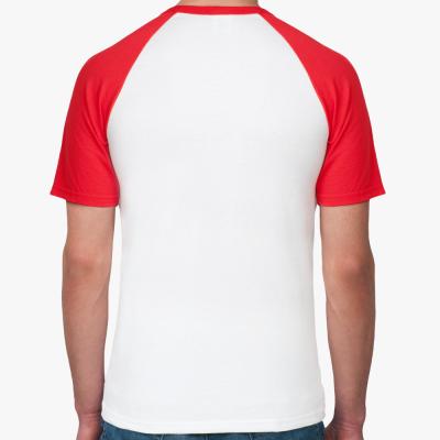Мужская футболка реглан, бел/красн