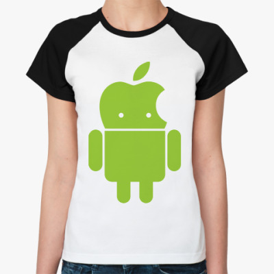 Женская футболка реглан Андроид голова-яблоко
