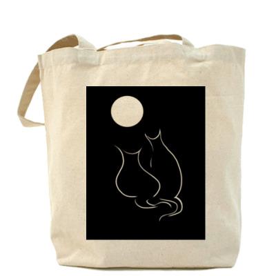 Сумка Кот и кошка лунной ночью
