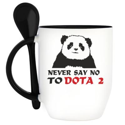 Кружка с ложкой Never say no to dota 2