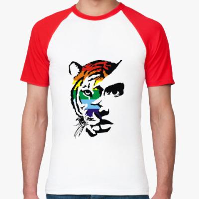 Футболка реглан Тигр радужный