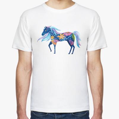 Футболка Синяя лошадка, для любителей лошадей