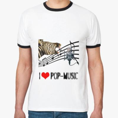 Футболка Ringer-T 'I Love Pop'