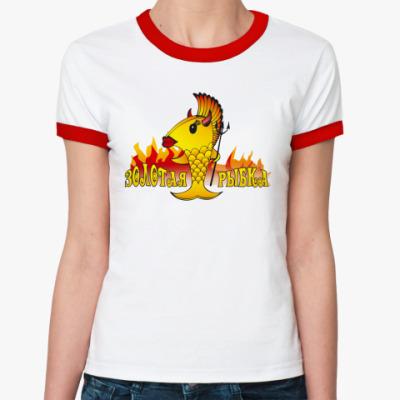 Женская футболка Ringer-T 'Золотая рыбка'