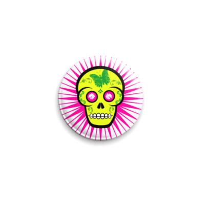 Значок 25мм Green Skull  25 мм