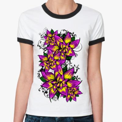 Женская футболка Ringer-T Цветы