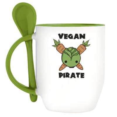 Кружка с ложкой Веган пират