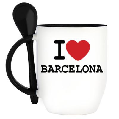 Кружка с ложкой I Love Barcelona