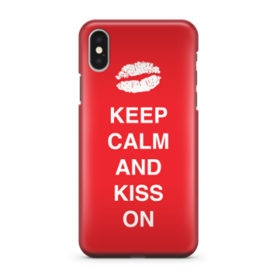 Чехол для iPhone X Keep calm and kiss on