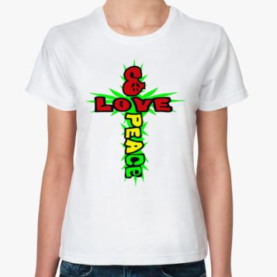 Классическая футболка love & peace
