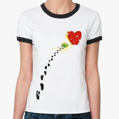 Женская футболка Ringer-T Подарок от сердца
