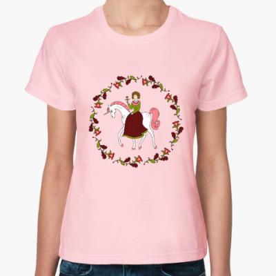 Женская футболка Russian folk flower ornament. Girl and unicorn