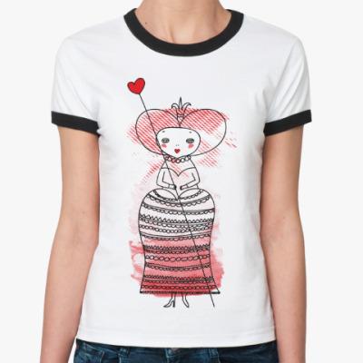 Женская футболка Ringer-T Queen of Hearts, Alice's Adventures in Wonderland