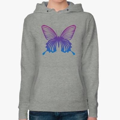Женская толстовка худи Бабочка Butterfly Vintage