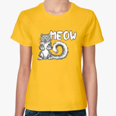 Женская футболка Мяу