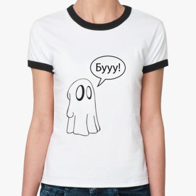 Женская футболка Ringer-T   Бууу!