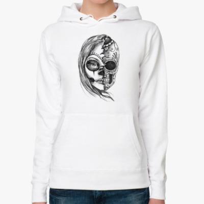Женская толстовка худи Зомби девушка, Zombie Girl, Ужасы, Скелет, Лицо