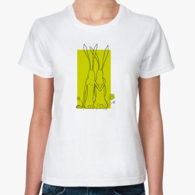 Классическая футболка  'Пара зайцев'