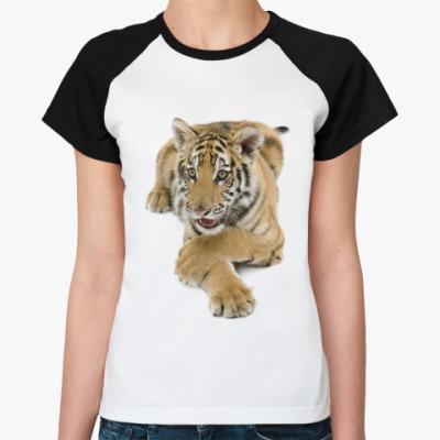 Женская футболка реглан Тигр