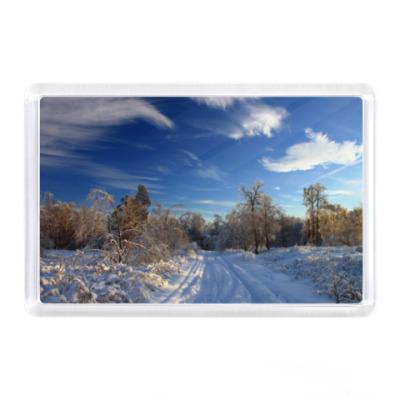 Магнит Зимняя дорога