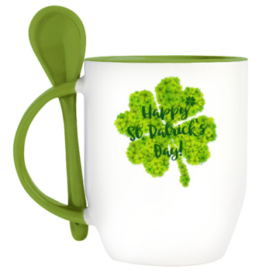 Кружка с ложкой Happy St. Patrick's Day!