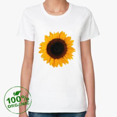 Женская футболка из органик-хлопка Подсолнух