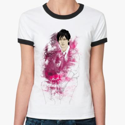 Женская футболка Ringer-T  (ч/белая) Рё галстук