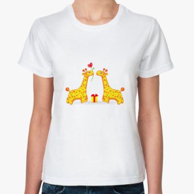 Классическая футболка   'Жирафики'