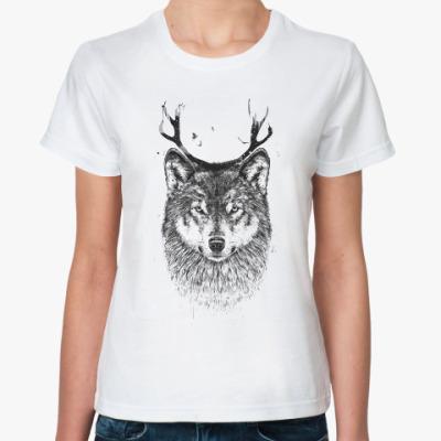 Классическая футболка Волк с рогами