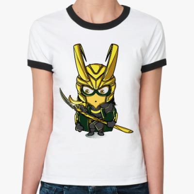 Женская футболка Ringer-T Миньон Локи