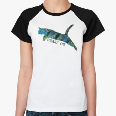 Женская футболка реглан Галактический кот