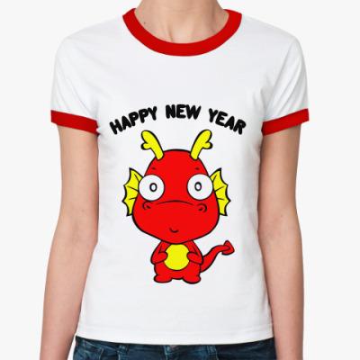 Женская футболка Ringer-T Новогодний дракончик