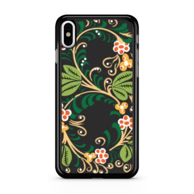 Чехол для iPhone Узор. Листья и ягоды.