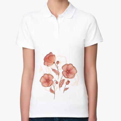 Женская рубашка поло Нежные маки