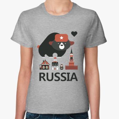 Женская футболка Россия (Russia)