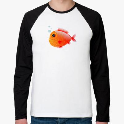 Футболка реглан с длинным рукавом Довольная рыба