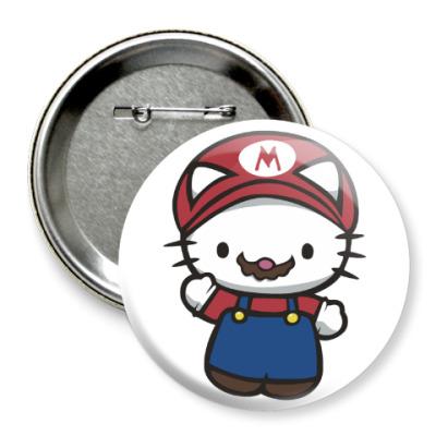 Значок 75мм Китти Марио