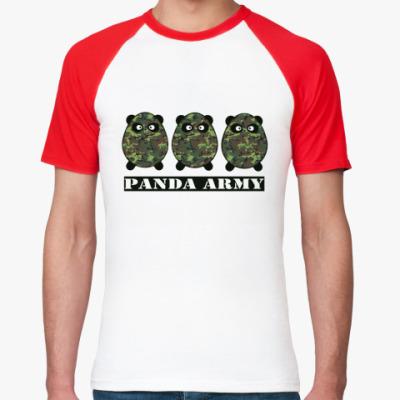 Футболка реглан Panda Army  М.(красн)
