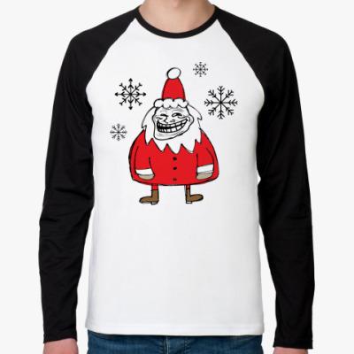 Футболка реглан с длинным рукавом Trollface Santa