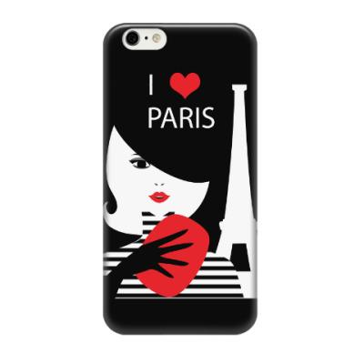 Чехол для iPhone 6/6s Француженка, фэшн иллюстрация. Я люблю Париж