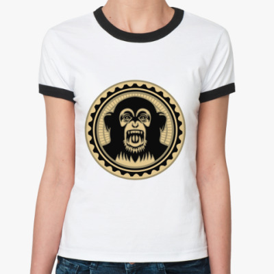Женская футболка Ringer-T Screaming monkey