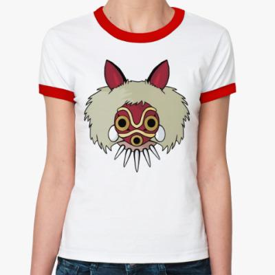 Женская футболка Ringer-T Принцесса Мононоке Мияздаки